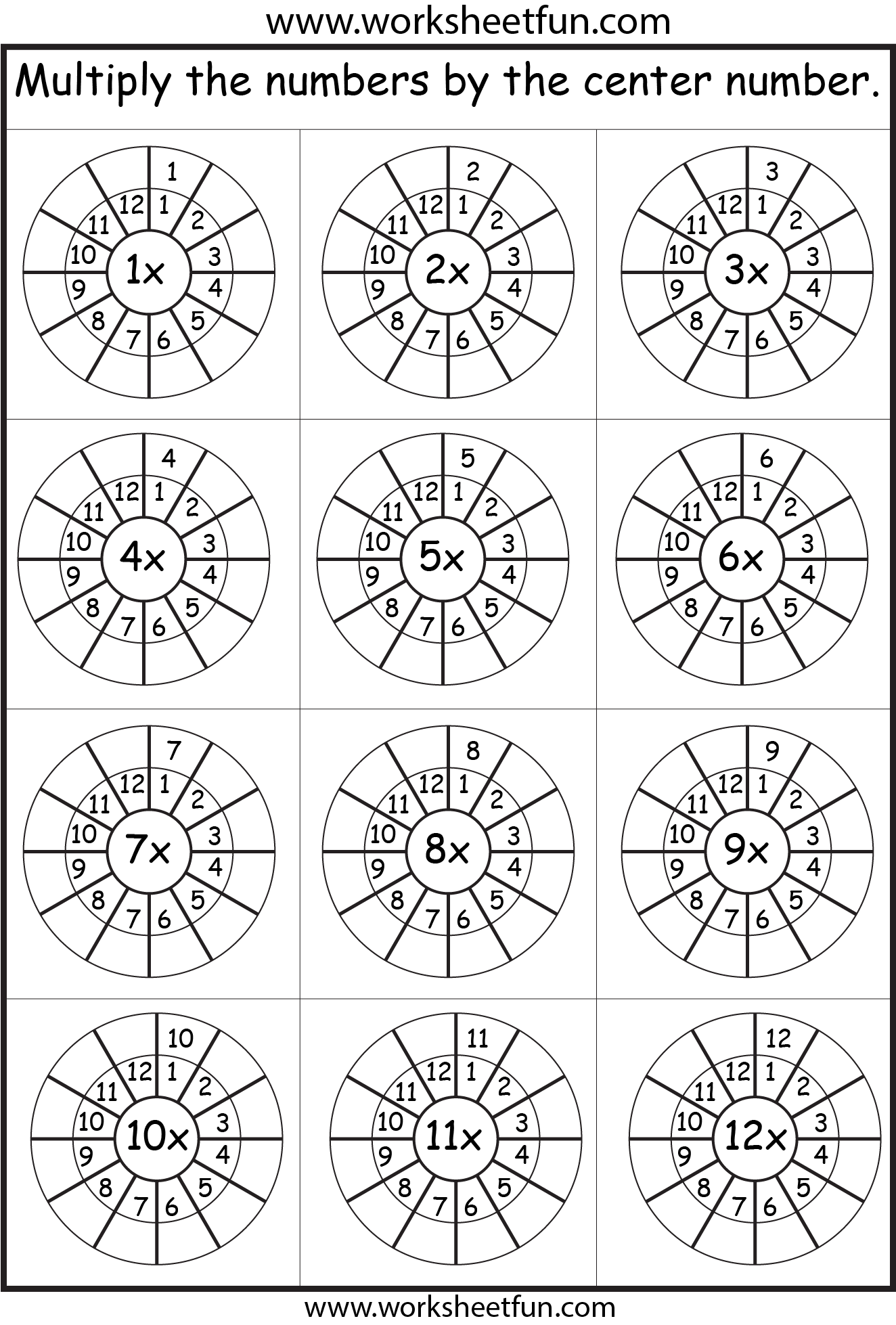 Practice 1-12 times table on one worksheet   Times tables worksheets [ 1958 x 1324 Pixel ]