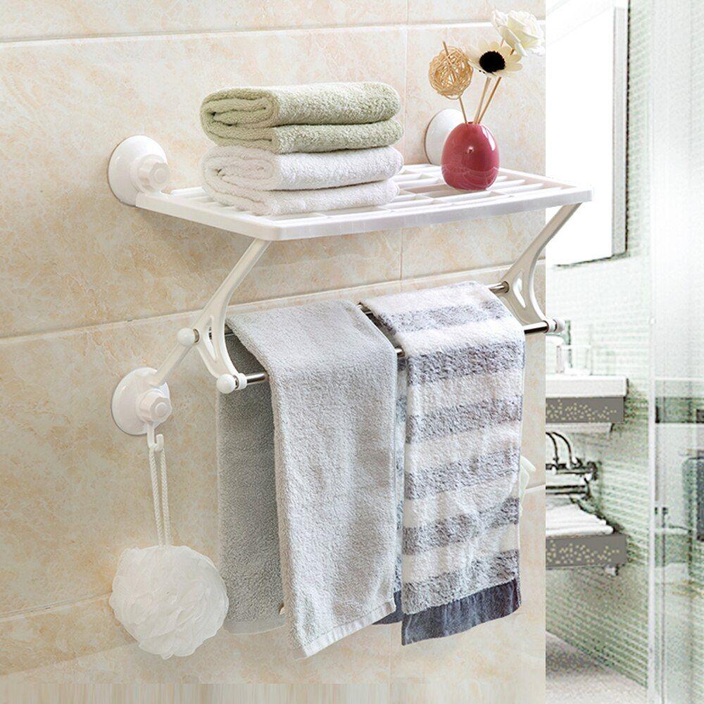 Vintage Bathroom Kitchen Metal Hard Plastic Towel Rack W 12 Swivel Hooks Swing Arm Wall Towel Holder Folding Sups Drying Rack Wall Towel Bar