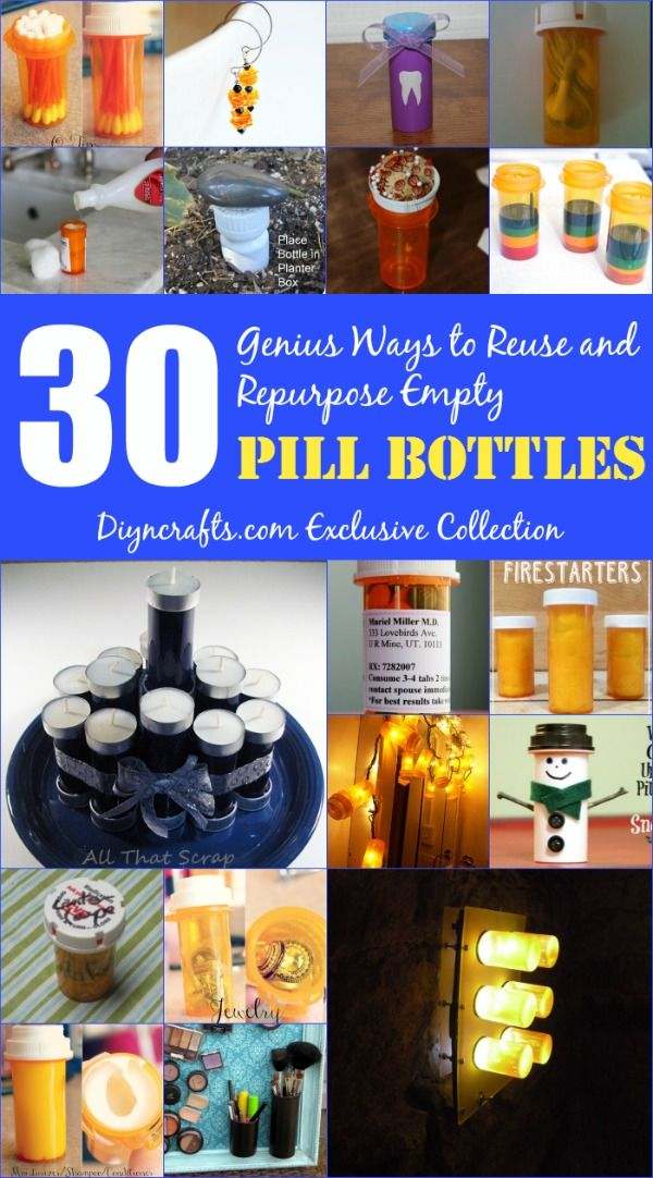 30 genius ways to reuse and repurpose empty pill bottles uses for pill bottles bottle. Black Bedroom Furniture Sets. Home Design Ideas