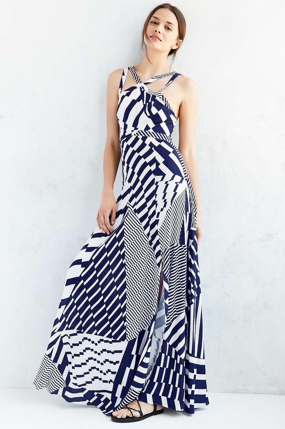 Silence + Noise Splice It Up High-Neck Maxi Dress