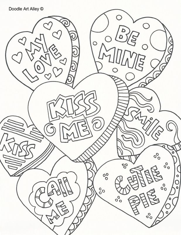 Valentine S Day Doodle Art Free Printable Coloring Pages