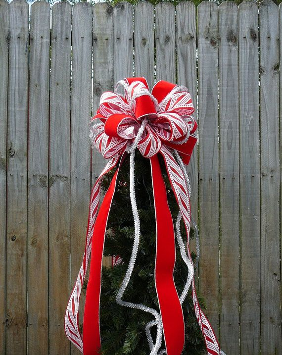 Tree Top Bow for Christmas - Large Fun Tree Topper in Red White and
