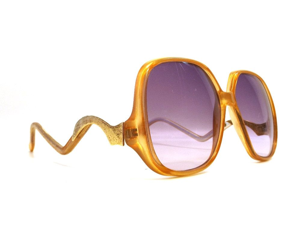 570435b3cf vintage 80 s women drop arm sunglasses oversize plastic frame fashion  accessories modern round square purple lens yellow amber gold metal by ...