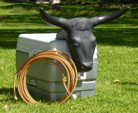 Vintage Cowboy Roping Bull with Articulating Rear Legs and Real Horns