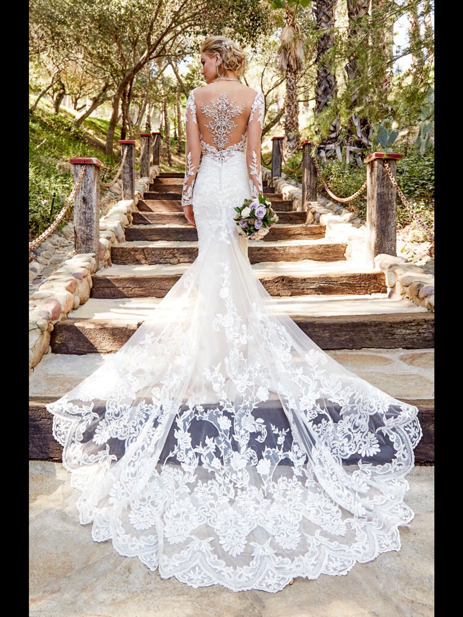 This Fitted Lace Gown By Kitty Chen Couture Features Lace Illusion