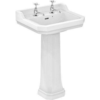 Bathroom Sinks Homebase ideal standard waverley basin and full pedestal - 56cm | pedestal