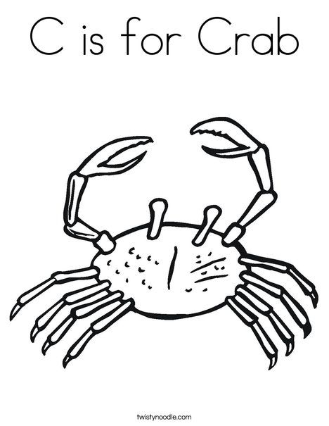 C Is For Crab Coloring Page Coloring Pages Printable Coloring Pages
