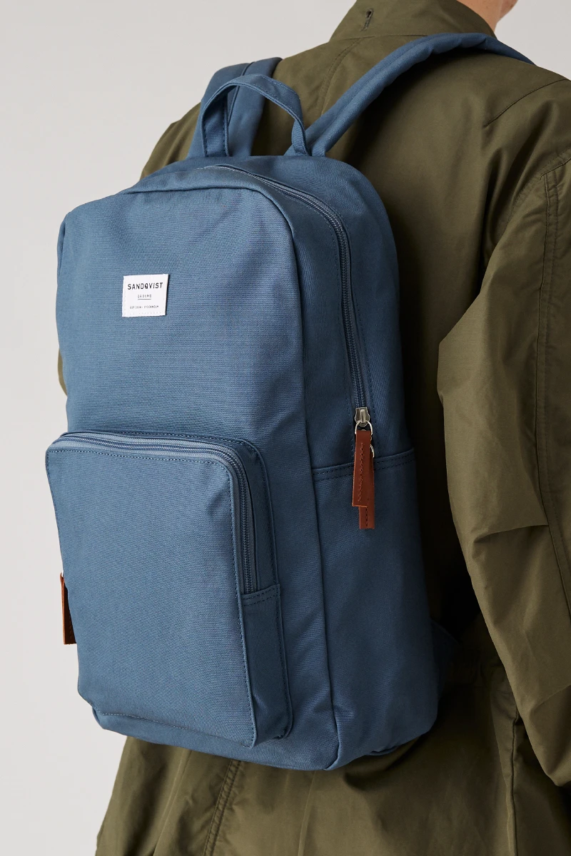 Kim Canvas Backpack Dusty Blue In 2020 Backpacks Canvas Backpack Laptop Pocket