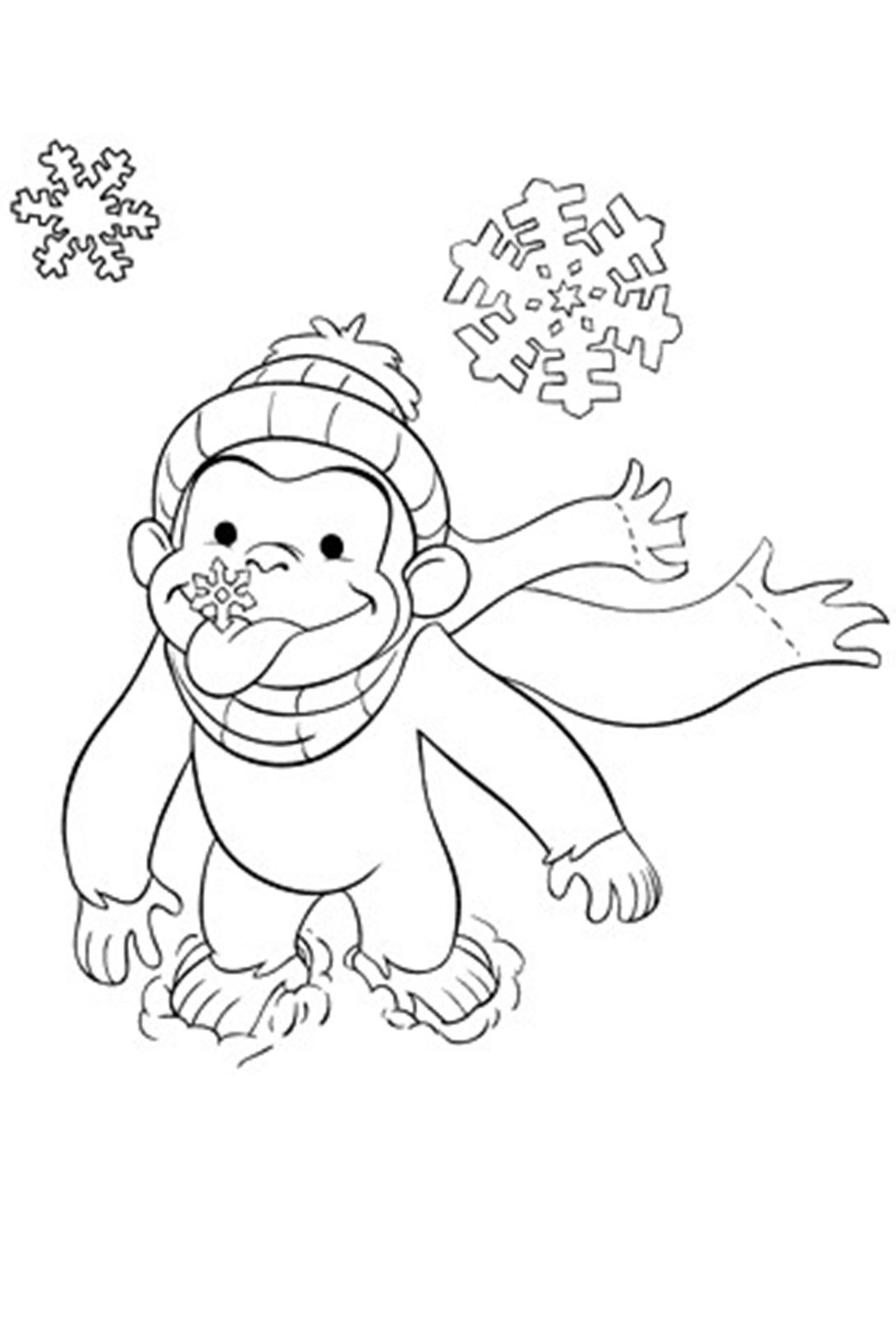 What A Great Winter Scene To Color For Curious George