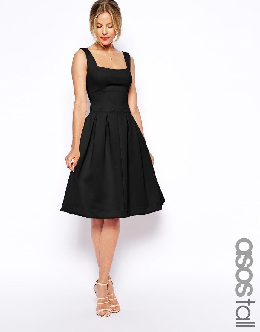 569abc36a462 Image 1 of ASOS TALL Debutante Full Midi Dress Sorte Brudepige Kjoler