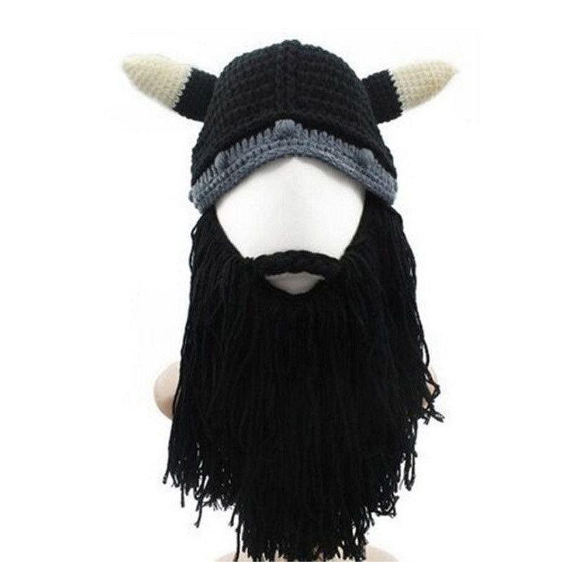 d68a00529ae Funny Creative Big Mustache Beanie Skull Caps Bearded Knitted Vikings Horn  Warm Skull Hat Men Children Beard Cap Xmas Mask