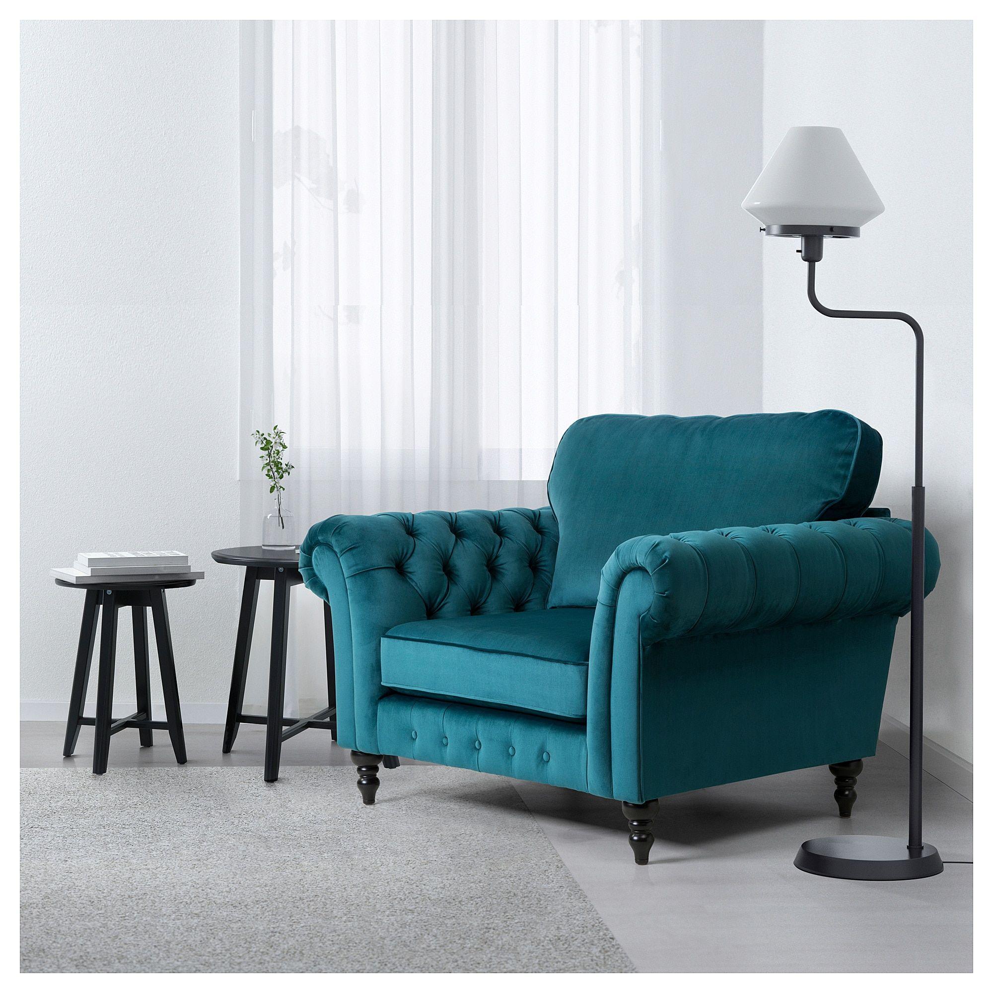 Grevie Armchair Velvet Blue Ikea In 2019 First Home Velvet