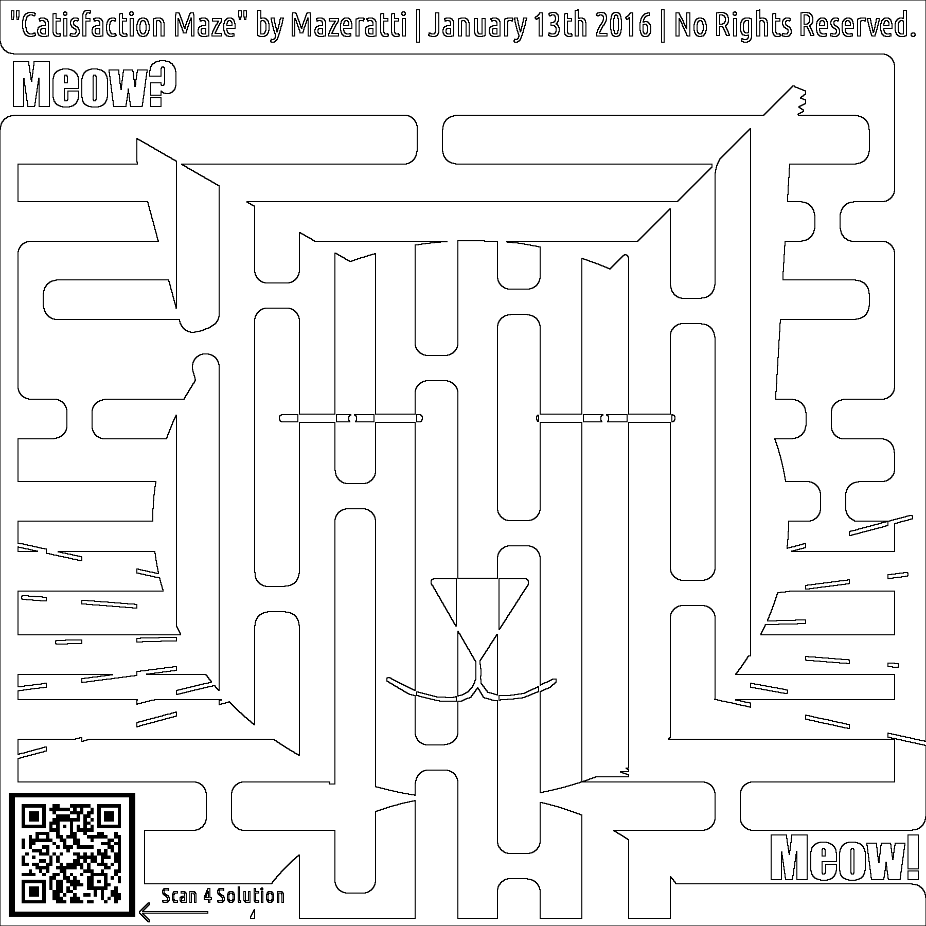 Free Coloring for Adults catisfaction maze