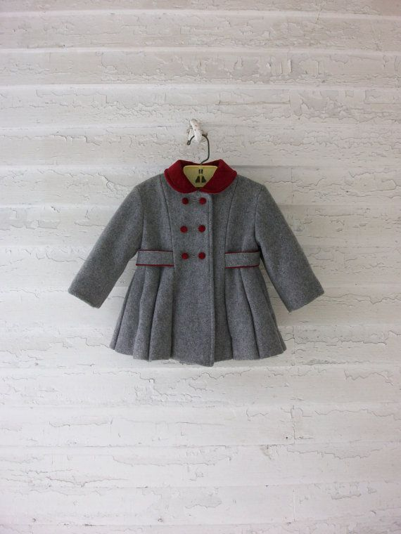 6003a7836 Vintage Toddler Coat ... Classic 1960 s Wool Velvet ... 12-24 months