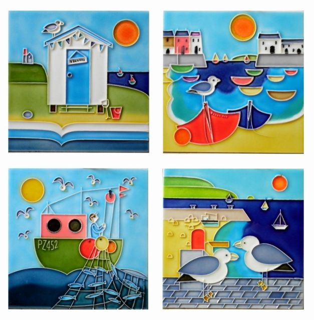 Decorative Wall Tiles Uk Seaside Coaster Set Of Tiles  Skye Tiles  Hand Painted Ceramic