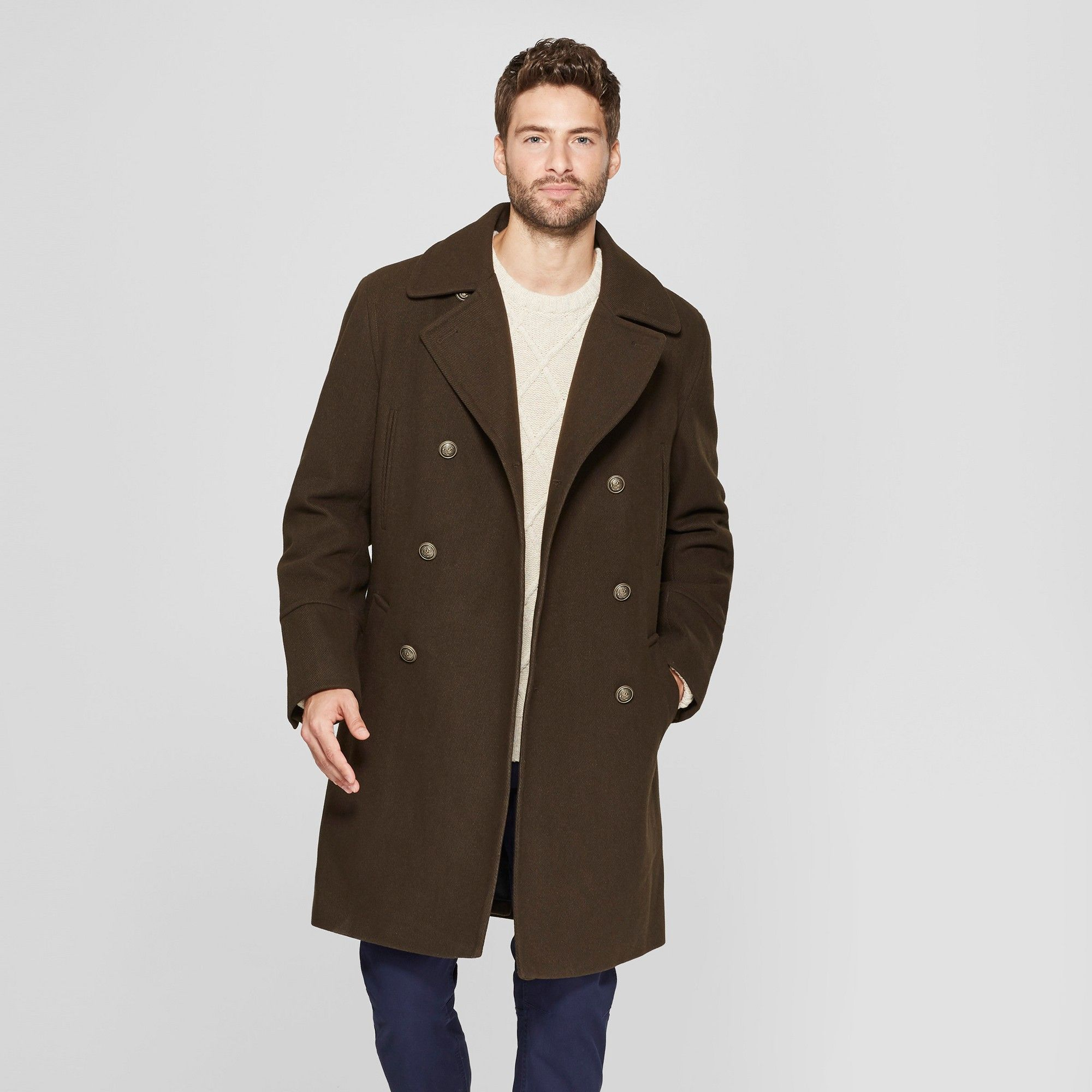 Yusky Mens Button Oversized Regular Tailored Fit Trench Coat Outwear