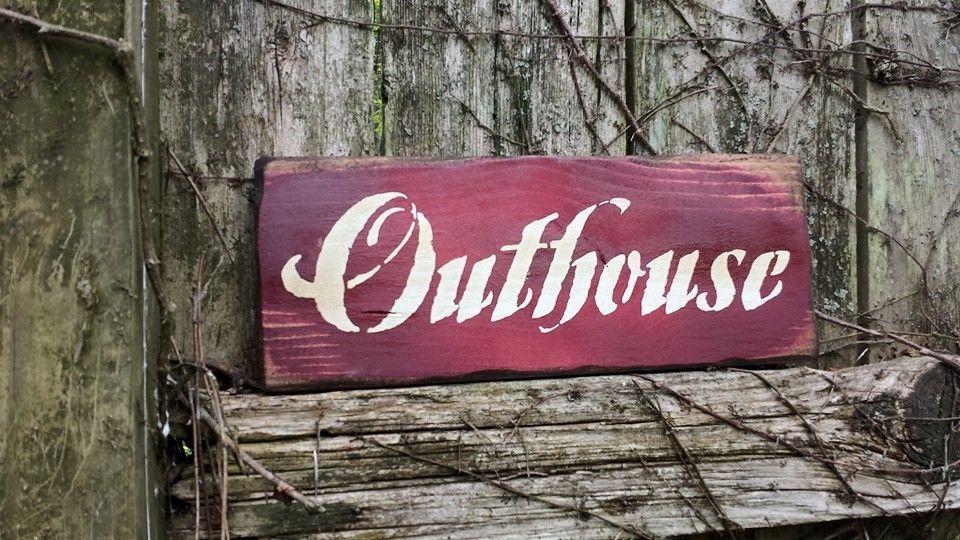 "Grungy OUTHOUSE Distressed Red Primitive Home Decor Wood Sign 4-3/4""x12"" Rustic #UniquePrimtiques #RusticPrimitive"