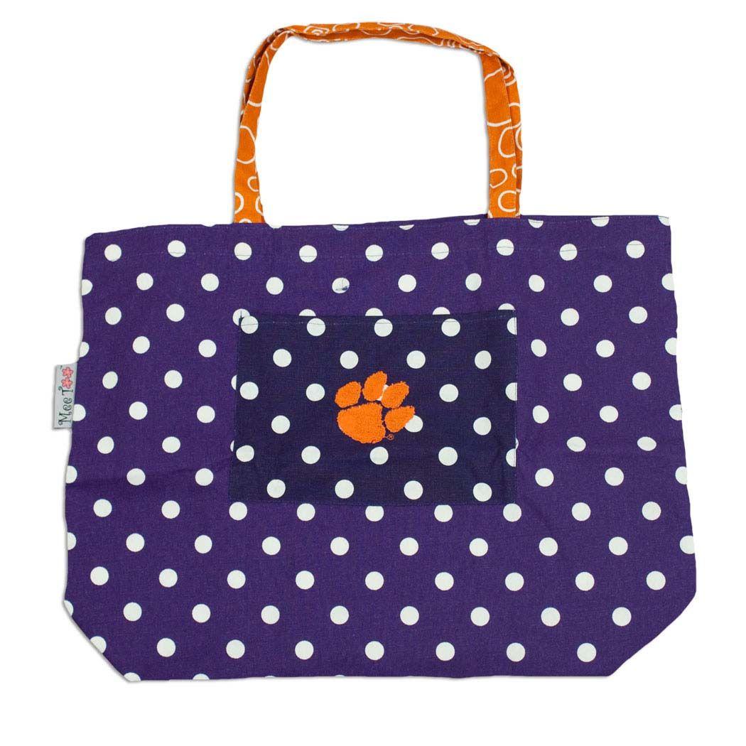 Clemson Tiger Large Polka Dot Tote Bag #clemson