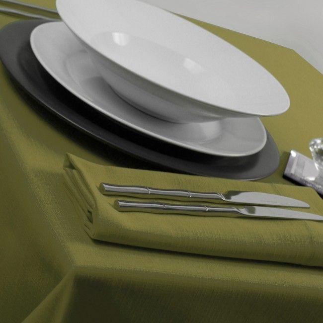 Olive Green Tablecloths Linen Weave  Tablecloths 100% Staple Spun Polyester  Oswaldtwistle Mills Linens