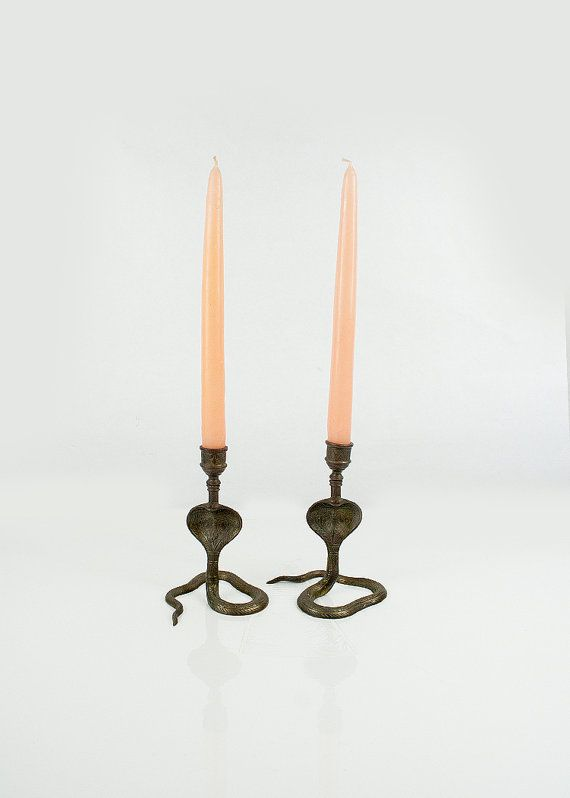 Vintage pair of cobra snake candle holders on Etsy, $44.00