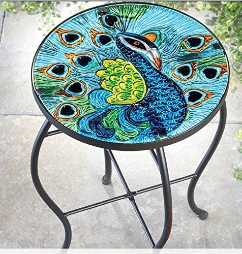 Patio Accent Table Small Metal Gl End Is A Hand Painted Collections