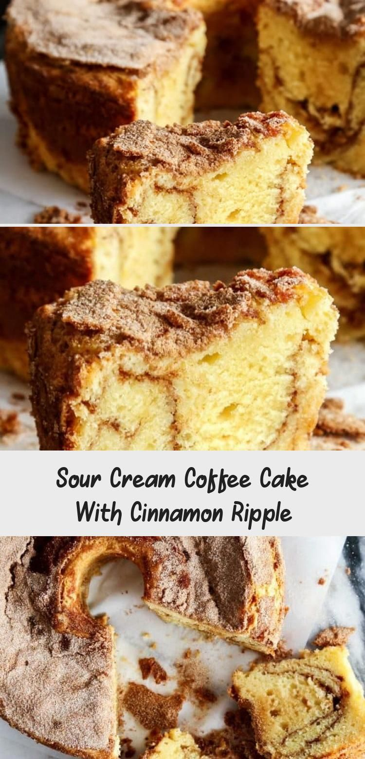 Sour Cream Coffee Cake With Cinnamon Ripple In 2020 Sour Cream Coffee Cake Cake Recipes Pumpkin Chocolate Chip Muffins