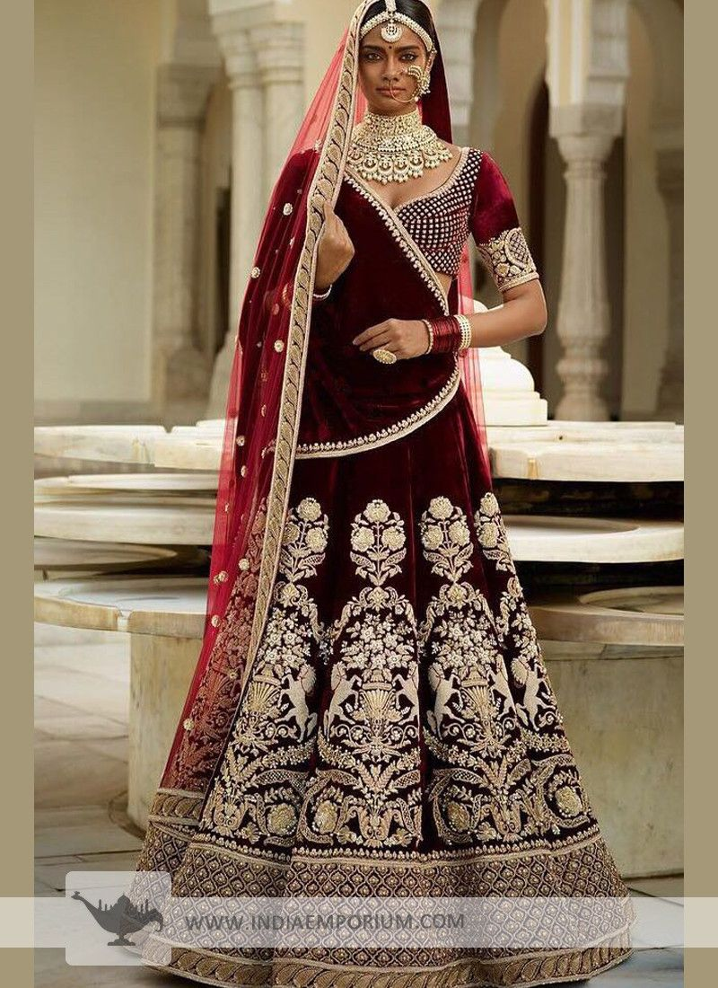 2b8744eaa7286 Lavish Maroon Velvet Designer Bridal Lehenga Choli with Machine Embroidery  Work