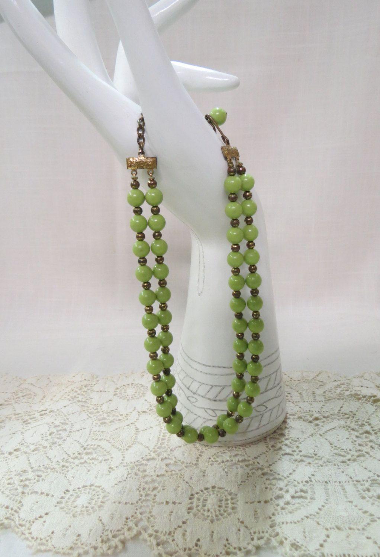 Vintage Green Bead Double Strand Necklace Brass Spacer Beads Choker by KansasKardsStudio on Etsy