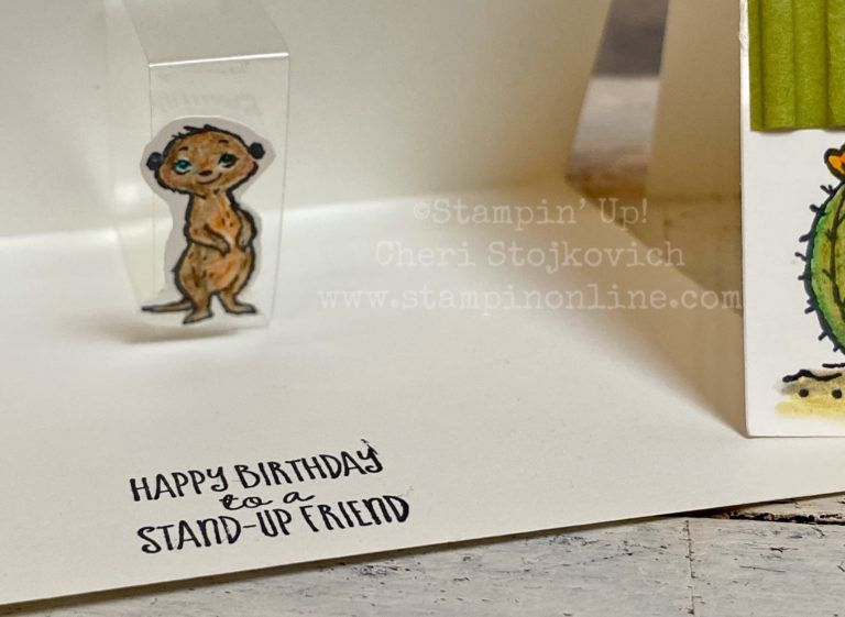Super Easy Pop Up Card With Watercolor Pencil Tutorial Featuring Sale A Bration Meerkats Cards Pop Up Cards Fun Fold Cards
