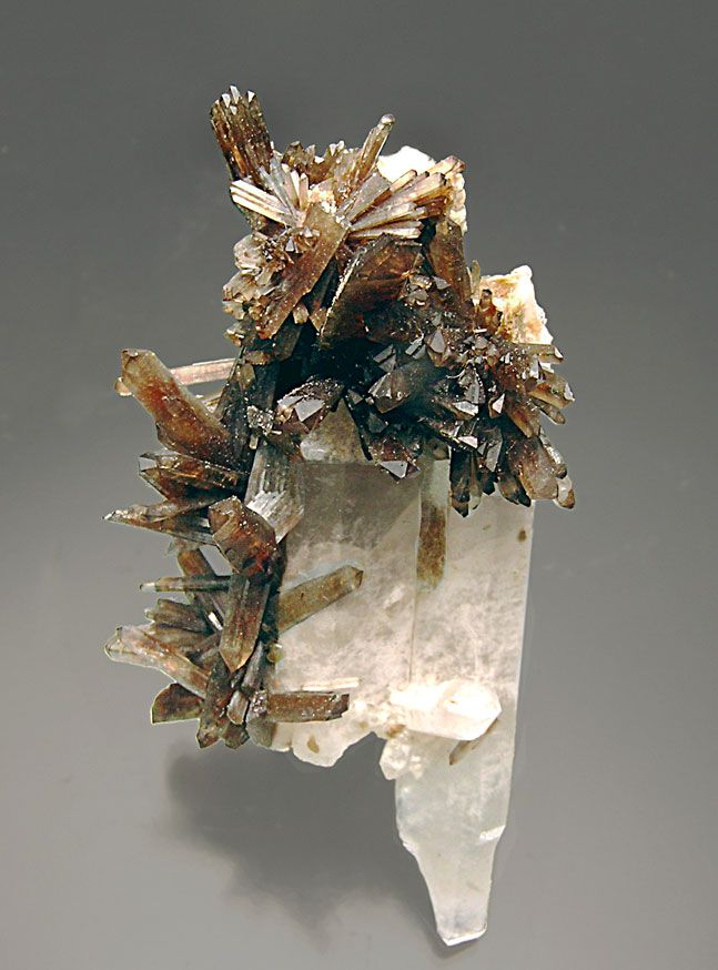 Childrenite,  Fe++Al(PO4)(OH)2•(H2O) , with quartz, Lavra do Poço Dantas, Piauí, Taquaral, Minas Gerais  Brazil. Prismatic crystals with well defined faces and edges, with perfect terminations, on a group of quartz crystals