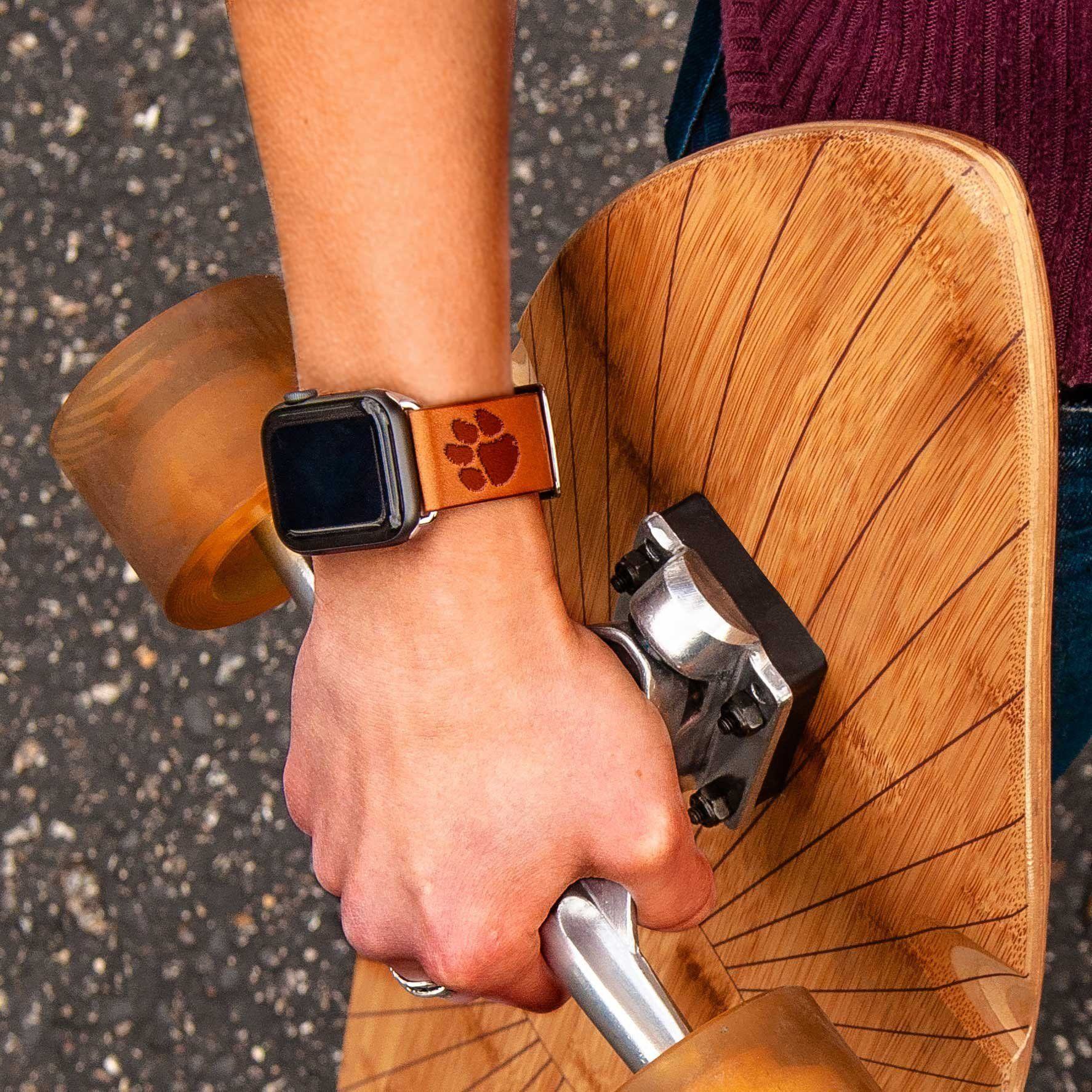 Clemson Tigers Leather Apple Watch Band Apple Watch Bands Leather Apple Watch Bands Watch Bands