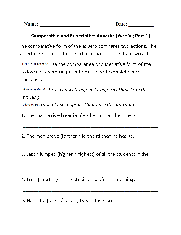Writing Comparative and Superlative Adverbs Worksheet Part 1 – Free Adverb Worksheets