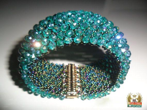 ELEGANT GREEN HANDCUFF Bracelet  By P. Ayşe by AZZRAJEWELRY