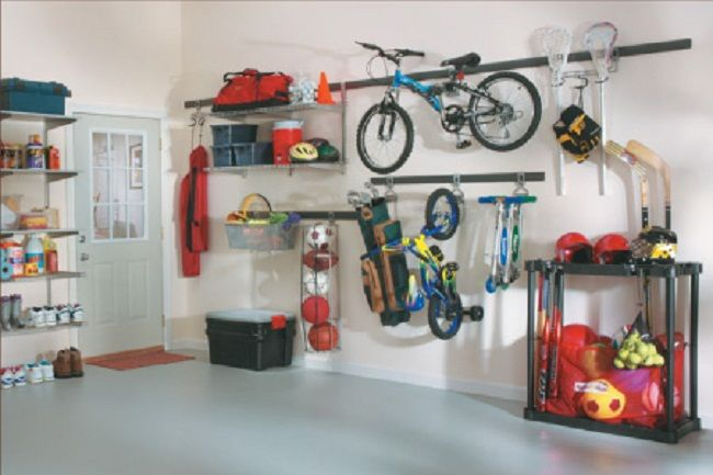Genial Garage Storage Systems For Neat And Tidy Garage: Grey Floor Balls Blue  Bicycle Garage Storage Systems With Black Box And White Door ~  Dickoatts.com Garage ...