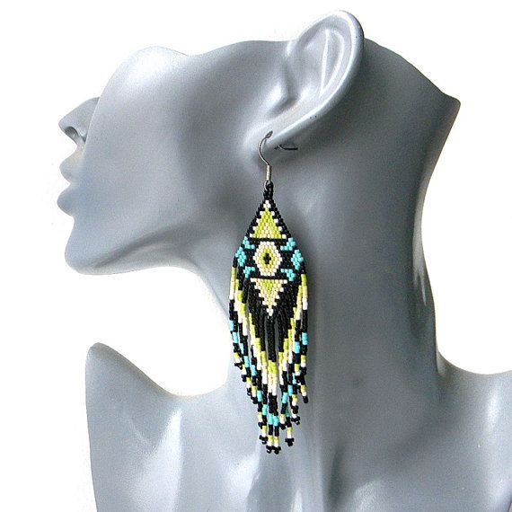 Ethnic style large seed bead earrings sterling by Anabel27shop