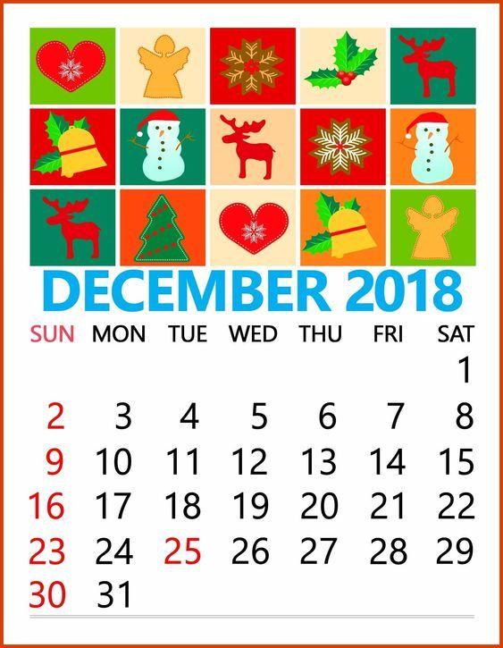 Cute December 2018 Calendar Template Monthly Calendar Templates