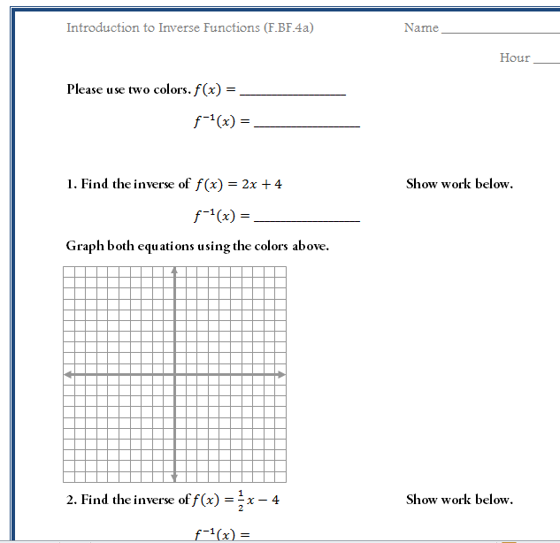 Free Worksheet to Introduce Inverse Functions Common Core Math F – Algebra 2 Functions Worksheet