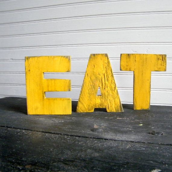 EAT Word Sign Yellow Wood Letters Kitchen Sign by SlippinSouthern ...