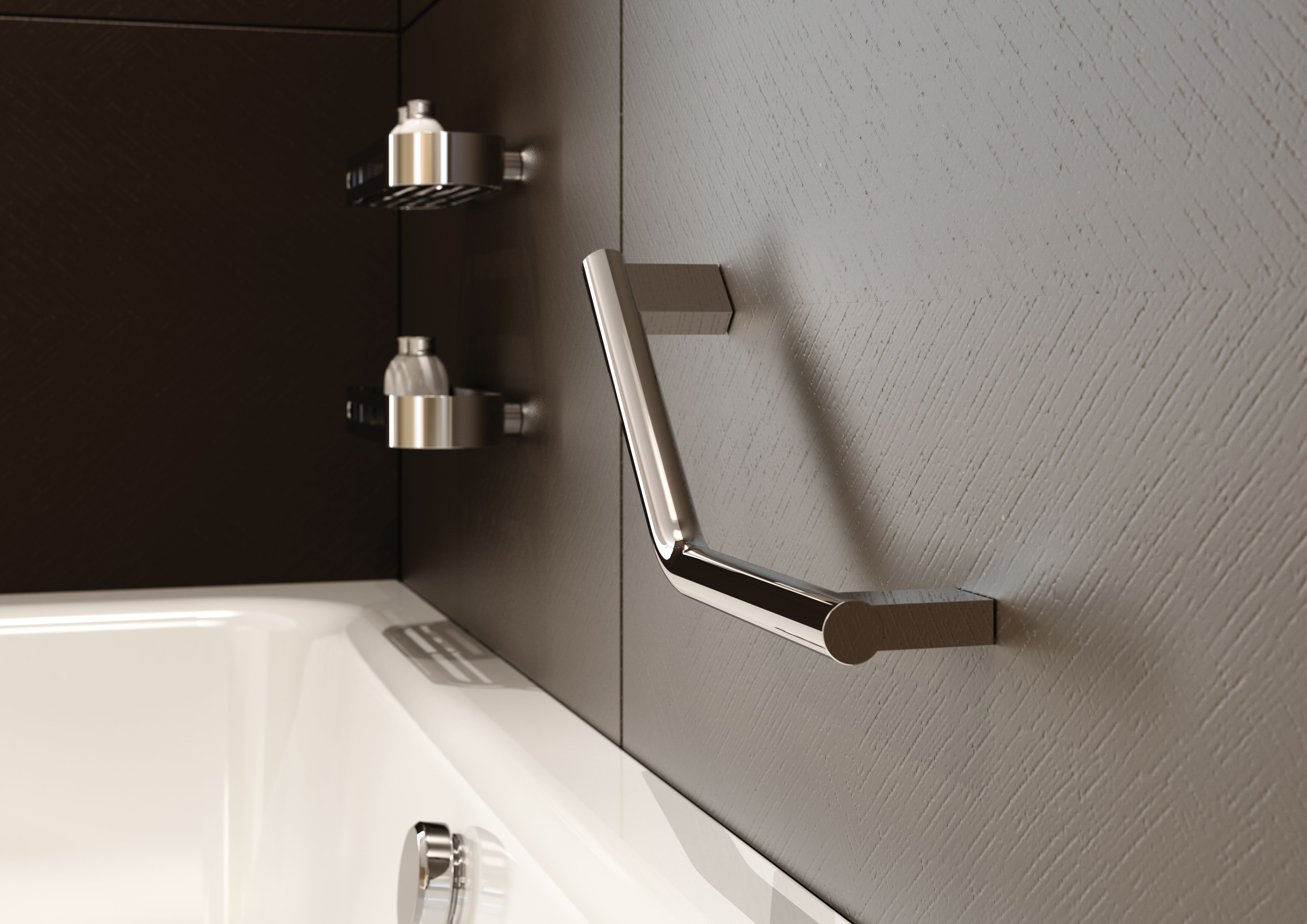 Sonia Lux Modern Bathroom Shower Angled Grab Bar Chrome 153244 Dimensions: W304 H25 D75mm Material: chrome plated on brass