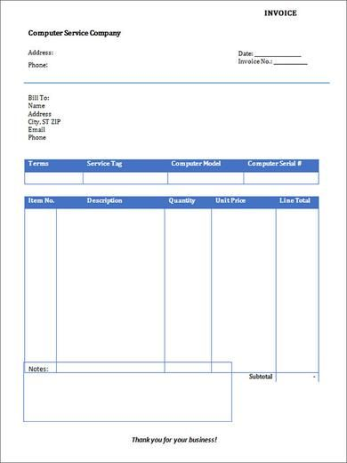 Computer Service Invoice Template , Free Receipt Template PDF and - money receipt word format