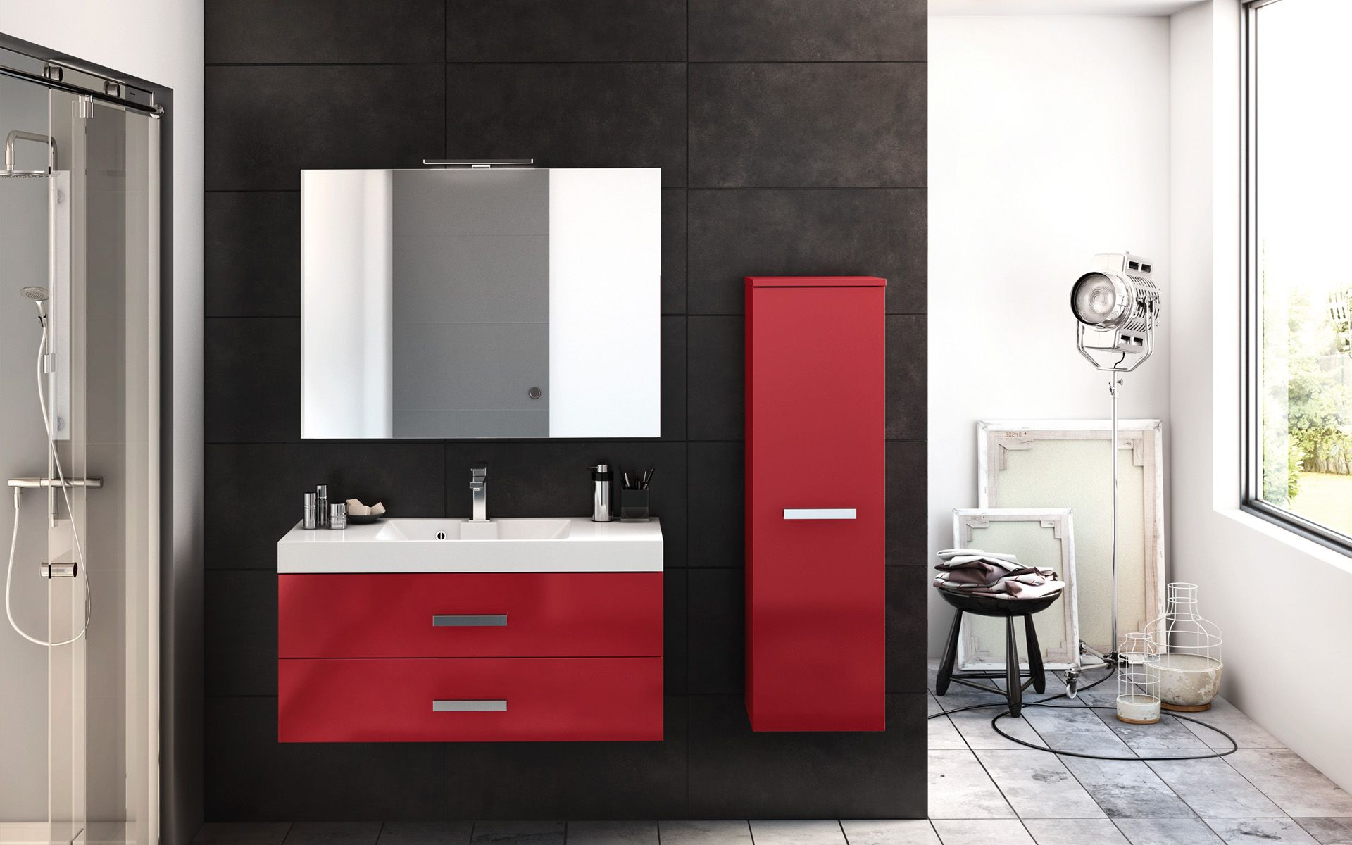 Salle De Bain Parement Baignoire ~ decotec obbo meuble salledebain red rouge red pinterest