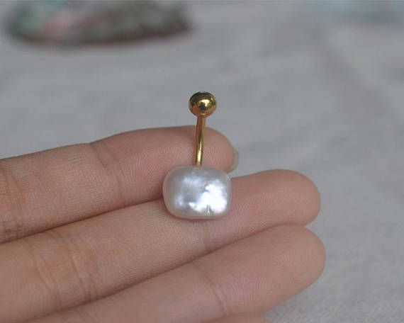 Belly Button Ring Baroque Pearl Belly Ring Navel Ring Girlfriend