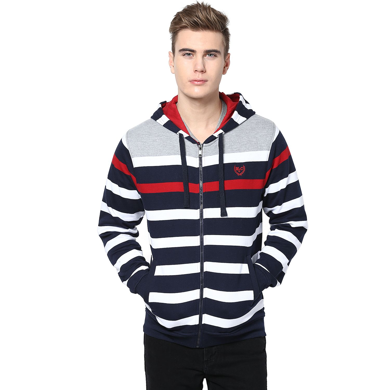 MUDO Grey, Navy, White and Red Striped Hoodie Sweatshirt with hand ...