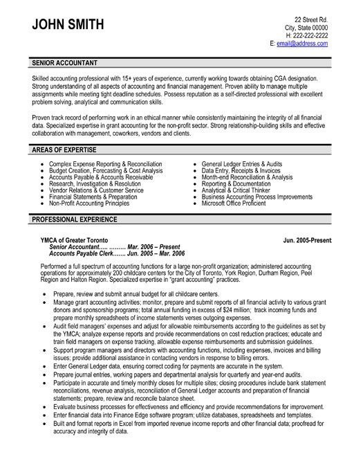 Click Here to Download this Senior Accountant Resume Template - resume for non profit