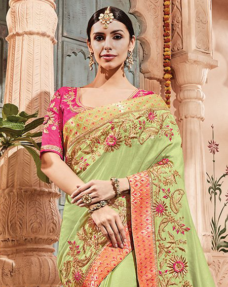71e69d0ddb COLOR : Pista Green & Pink FABRIC : Saree - Dola Silk & Banarasi Jacquard,  Blouse - Dhupion Silk WORK : Silk Thread & Zari Embroidery, Stones,  Sequins, Lace ...