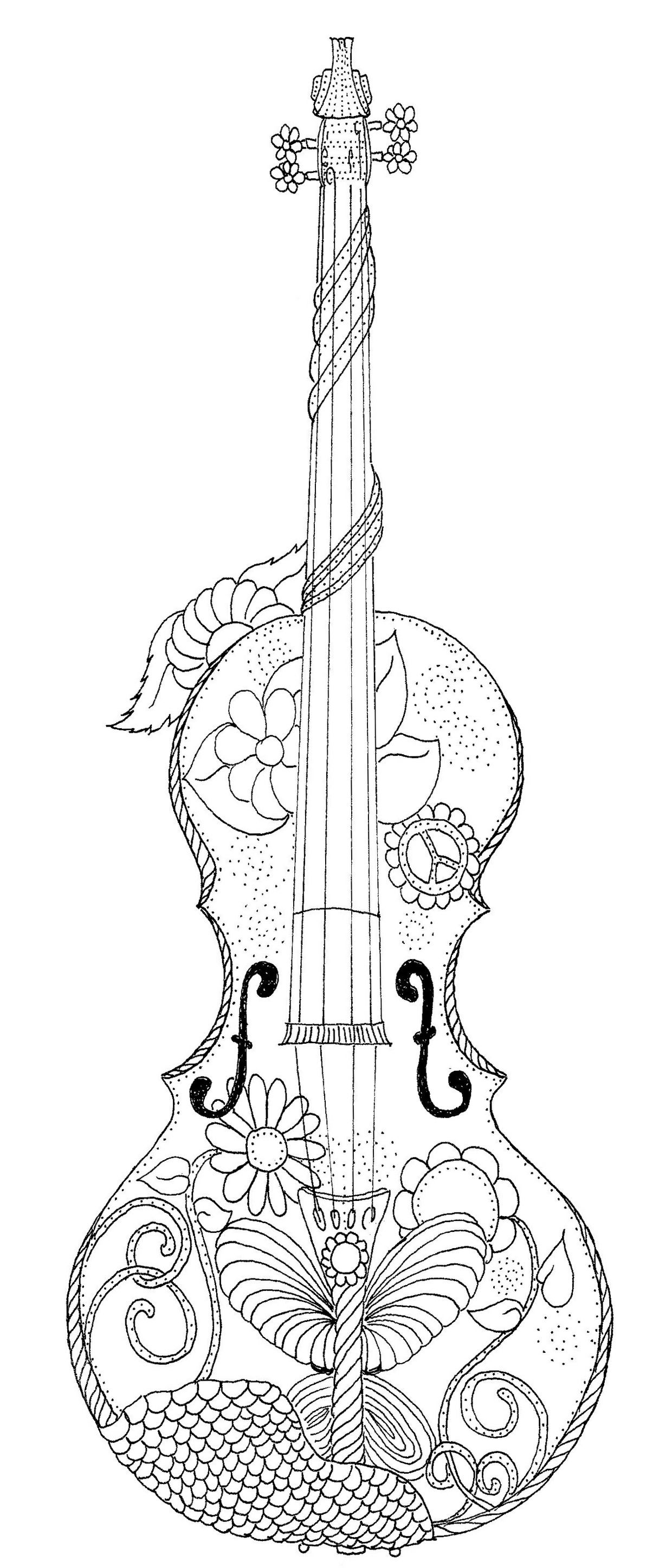 violin coloring page coloring journaling and markers