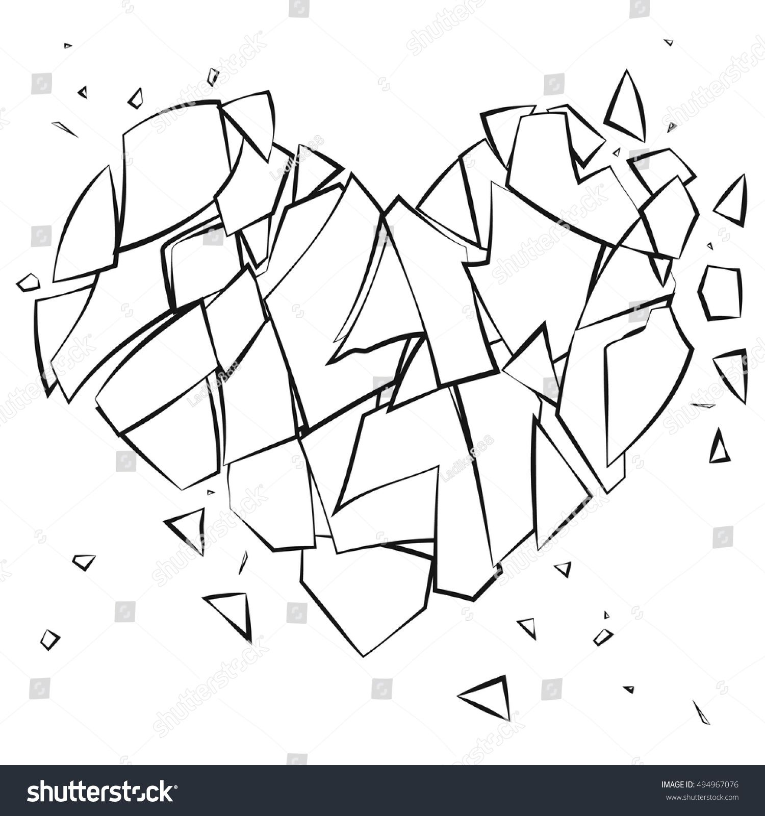 Coloring Page Broken Heart On White Background Broken Glass
