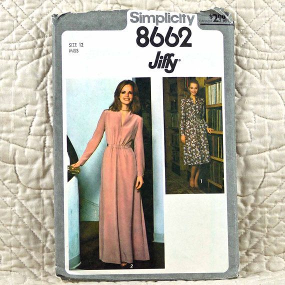 8662 SIMPLICITY Uncut PATTERN 1977 Women Front Slash Dress Back Zipper Long Sleeves Front Elastic Waist Back Belt Size 12 3-oz