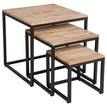 Set De 3 Table Basses Gigognes Carrees Brooke Pas Cher C Est Sur Conforama Fr Large Choix Prix Discount Table Basse Gigogne Table Basse Table Basse Bois