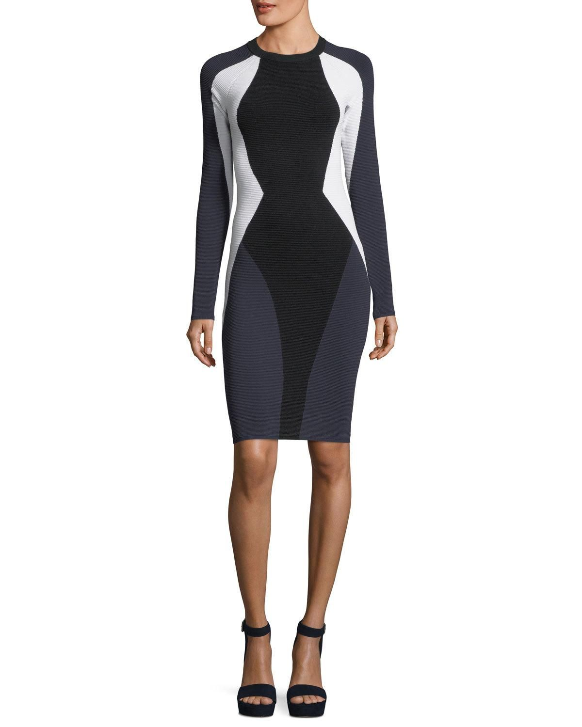 Longsleeve bodycon colorblock cutout dress products